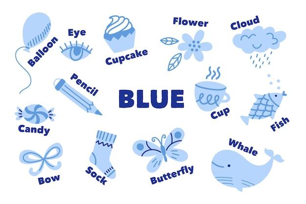 Pacote de vocabulário e cor azul em inglês