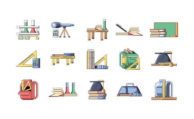 Pacote de volta à escola com conjunto de ícones