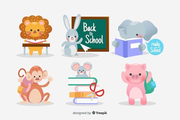 Pacote de volta para animais de escola