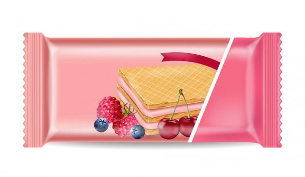 Pacote de waffles de creme berry mock up
