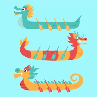 Pacote de zongzi de barcos-dragão