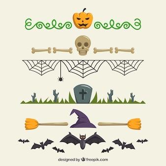 Pacote decorativo de bordas de halloween