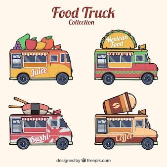 Pacote desenhado à mão de caminhões de alimentos modernos