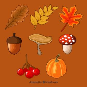 Pacote desenhado à mão de elementos de outono