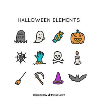 Pacote desenhado à mão de elementos do dia das bruxas