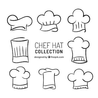 Pacote desenhado à mão de oito chapéus de chef