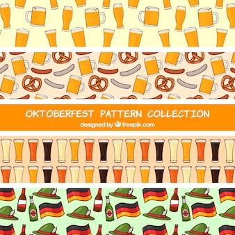 Pacote desenhado à mão de padrões mais oktoberfest