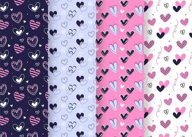 Pacote desenhado de padrões do dia dos namorados