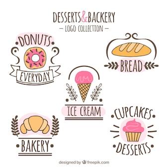 Pacote desenhado mão de logos sobremesa