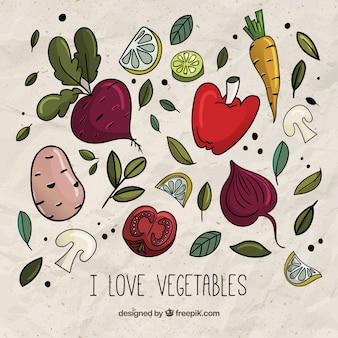 Pacote desenhados mão vegetais