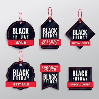 Pacote design de rótulos de venda de sexta-feira negra