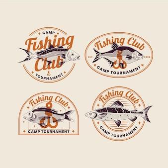 Pacote detalhado de crachás de pesca vintage