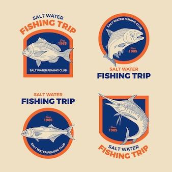 Pacote detalhado de crachás de pesca