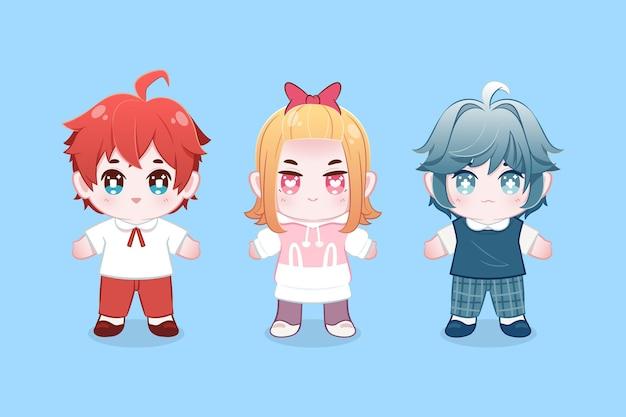 Pacote detalhado de personagens de anime chibi