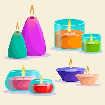 Pacote detalhado de velas perfumadas