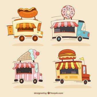 Pacote divertido de caminhões de comida desenhados a mão
