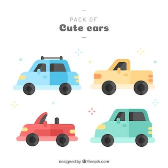 Pacote divertido de carros com design plano