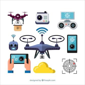 Pacote divertido de elementos drones