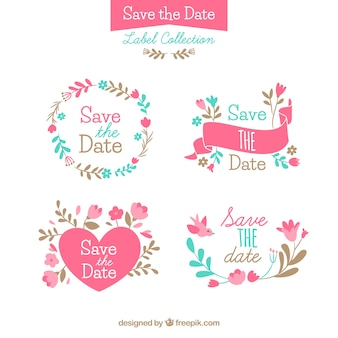 Pacote divertido de etiquetas de casamento coloridas Vetor grátis