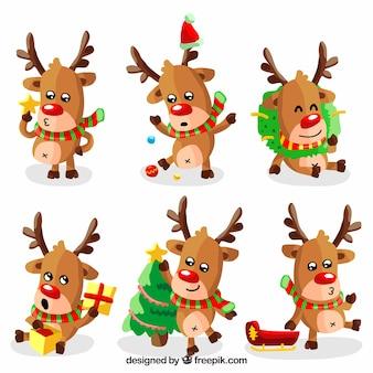 Pacote divertido de renas adoráveis