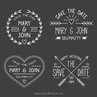 Pacote divertido de rótulos de casamento no quadro-negro