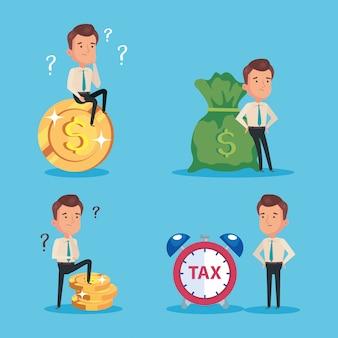 Pacote do dia do imposto pago com empresários