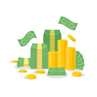 Pacote do dinheiro e pilha da moeda isolada no fundo branco. notas de dólar verde, contas voam, moedas de ouro - ilustração plana