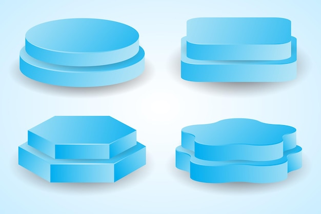 Pacote do pódio com tela azul geométrica 3d