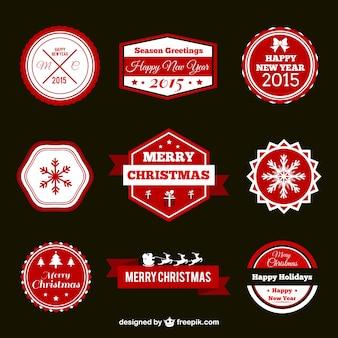 Pacote do vintage emblemas natal