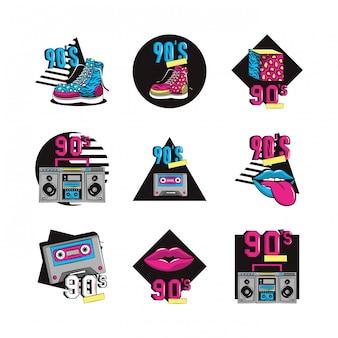 Pacote dos anos noventa conjunto de ícones