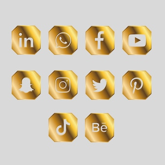 Pacote dourado de ícones de mídia social