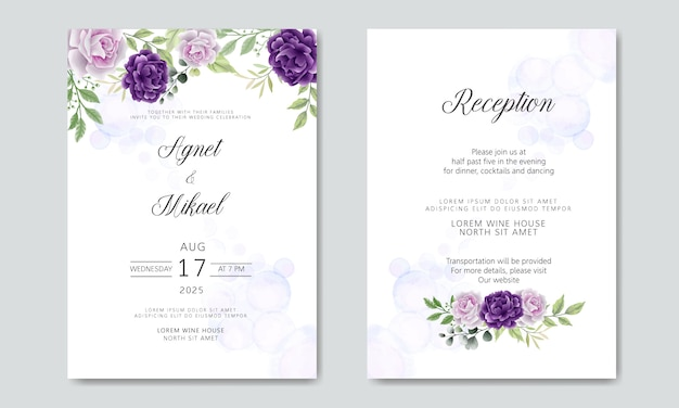 Pacote e conjunto de convite de casamento em modelo floral