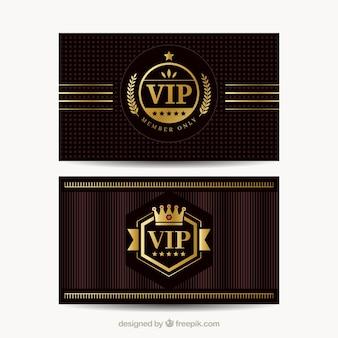 Pacote elegante com cartões vip