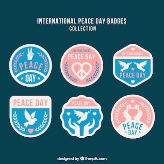 Pacote elegante de crachás para o dia da paz