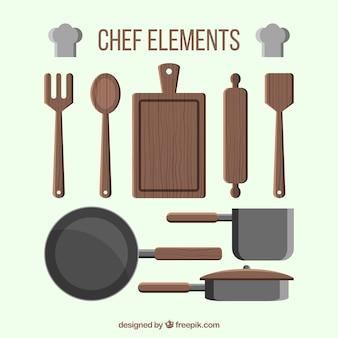 Pacote elegante de elementos chef