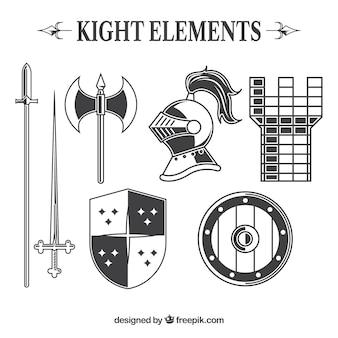 Pacote elegante de elementos medievais