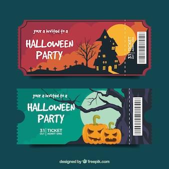 Pacote elegante de ingressos de halloween