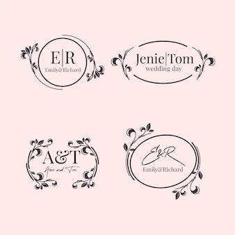 Pacote elegante de monogramas de casamento