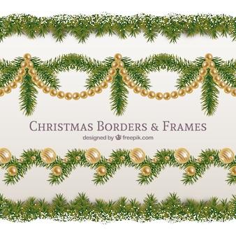 Pacote elegante e dourado festão do natal