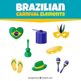 Pacote elementos carnaval brasileiro