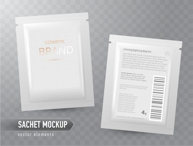 Pacote em branco realista de vetor, saquinho descartável da folha para máscara facial ou shampoo, isolado. produto cosmético para cuidados com o rosto, tratamento de pele.