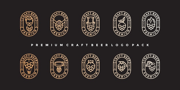 Pacote emblema artesanato cerveja logotipo