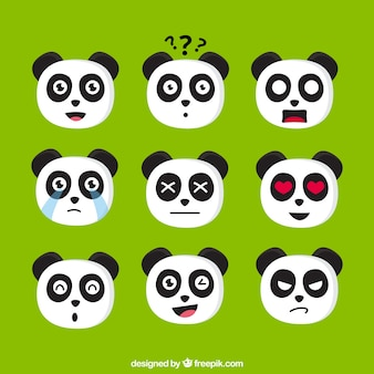 Pacote emoji de panda expressiva