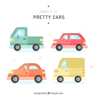 Pacote encantador de carros coloridos