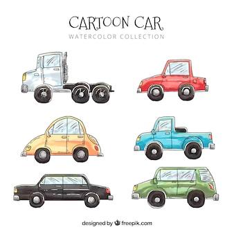 Pacote encantador de carros de aquarela