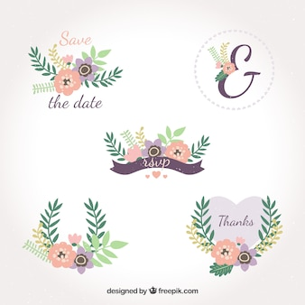 Pacote encantador de etiquetas de casamento