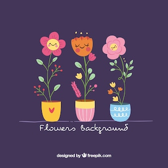 Pacote encantador de flores com design plano