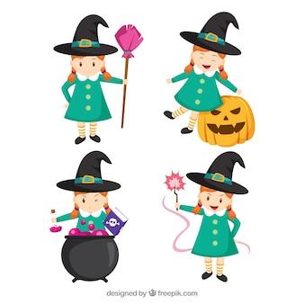 Pacote encantador de menina com traje de bruxa