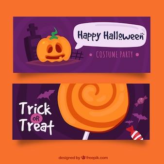 Pacote engraçado de banners de halloween
