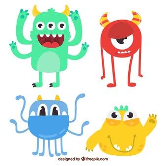 Pacote engraçado de monstros